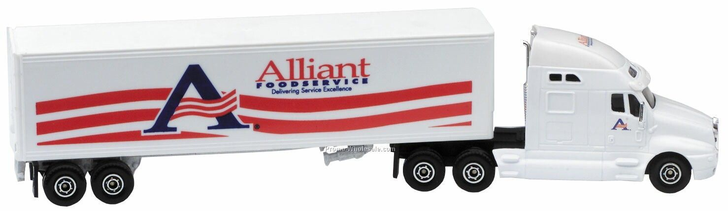 "11"" Die Cast Conventional Hauler Truck With Trailer"