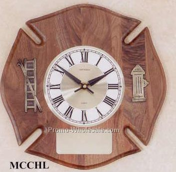 "12""x12"" Walnut Fire Department Service Clocks"
