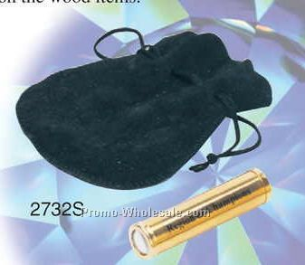 "2-1/2""x5/8"" Gold Plated Mini Kaleidoscope W/ Leather Pouch (Screened)"
