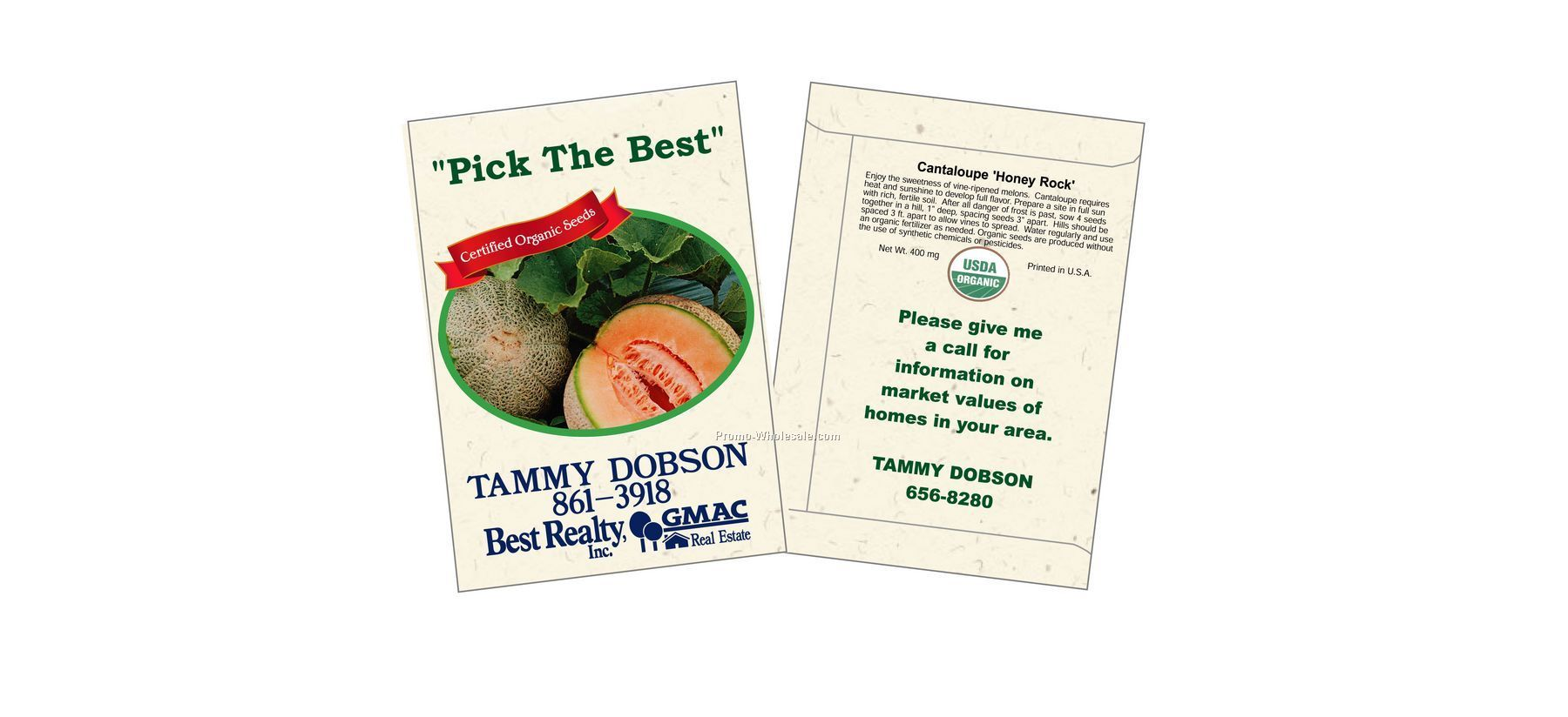 "3-1/4""x4-1/2"" Organic Cantaloupe - Honey Rock - Seed Packets (1 Color)"