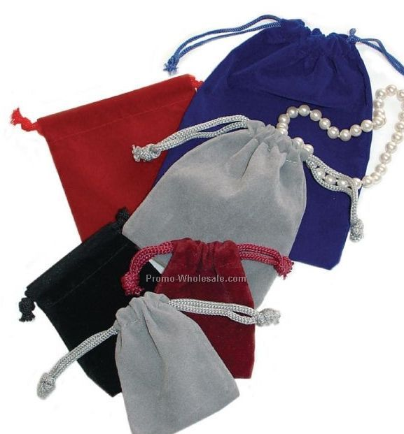 "3""x3"" Gray Drawstring Velveteen Jewelry Pouches"