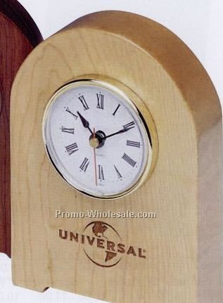 "4-1/4""x6""x1-1/4"" Light Brown Arch Clock"