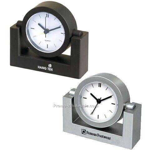 Swivel Desk Clock With Alarm (Black) - Custom Dial