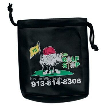 "7"" X 8"" Leatherette Golfer's Pouch With Drawstring"