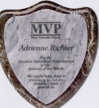 "7""x7-1/2""x3/4"" Shield Plaque Award - Medium"