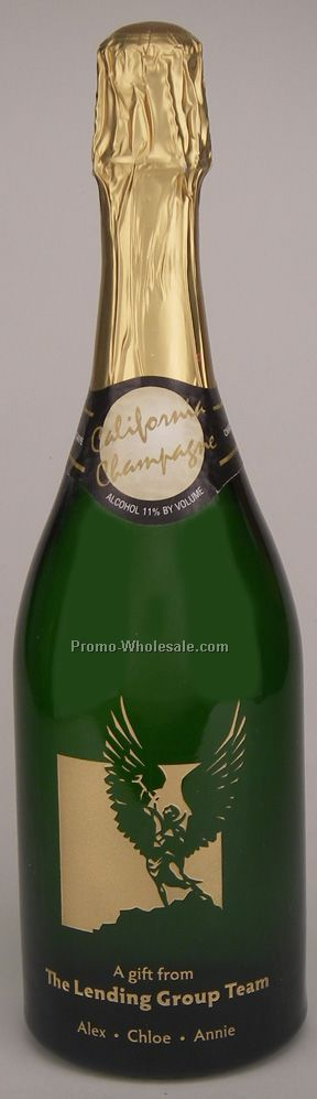 750 Ml Custom Etched Sparkling Wine Woodbridge, Ca, 1 Paint Fill