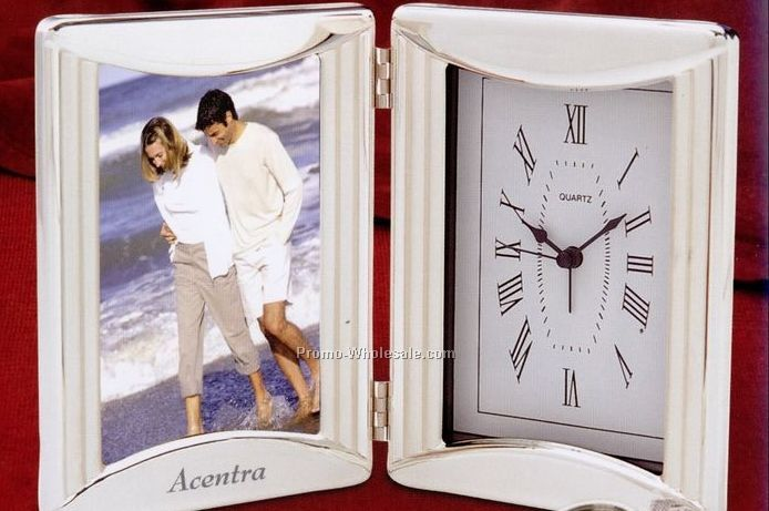 "9-1/2""x6-1/4"" Folding Chrome Plated Photo Frame With Alarm Clock"