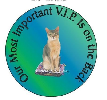 "Abyssinian Cat Round Hand Mirror W/ Full Mirror Back (2-1/2"")"