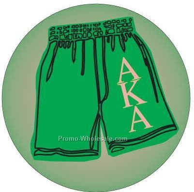 "Alpha Kappa Alpha Sorority Shorts Badge W/ Metal Pin (2-1/2"")"