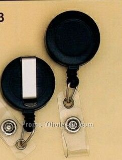 Black Round Plastic Clip-on Badge Reel