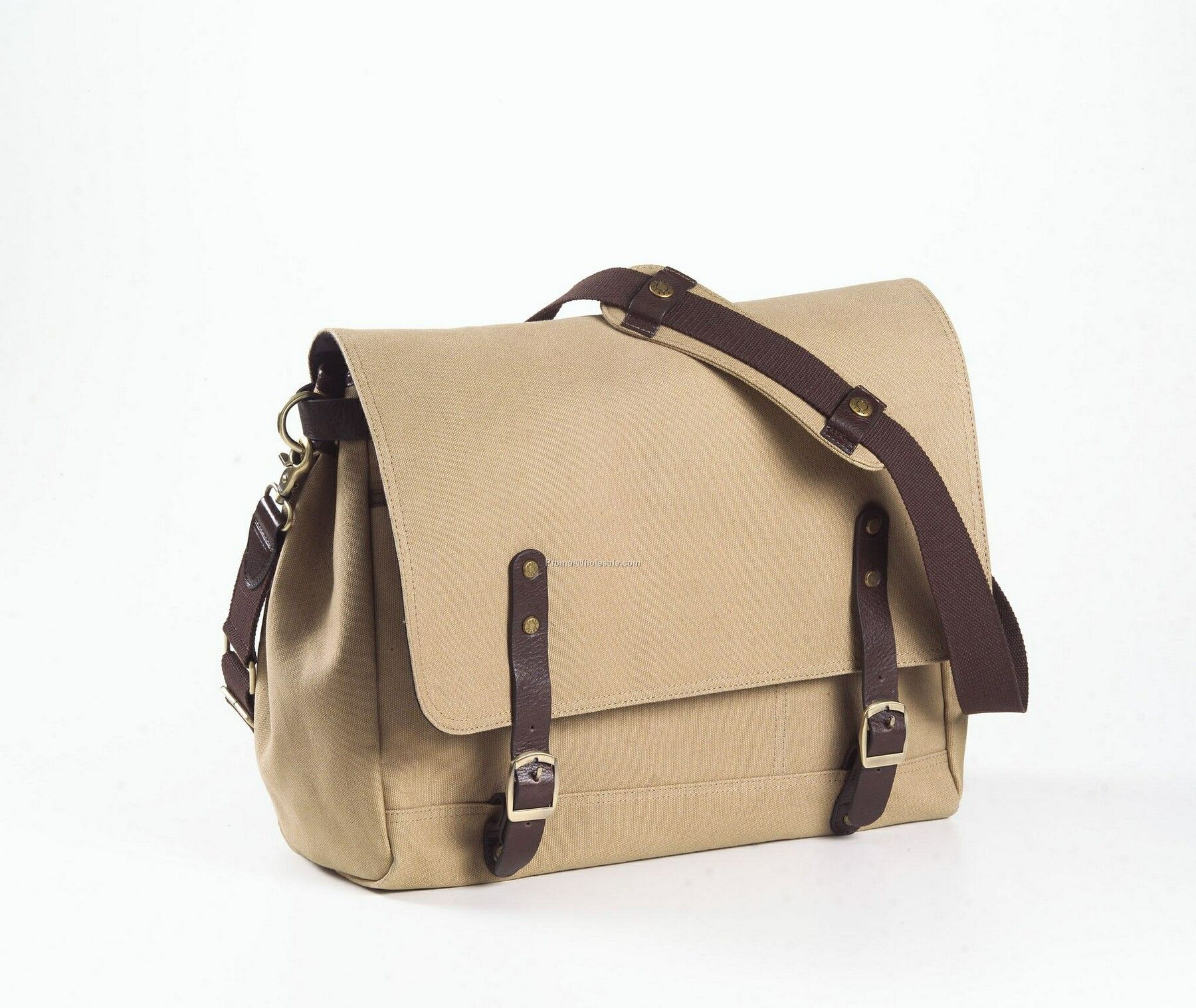 Canvas And Leather Courier Bag