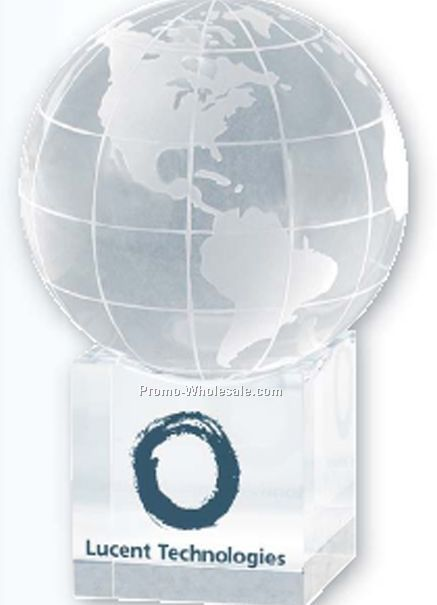 Clear Cube World Globe And Base (Blank)