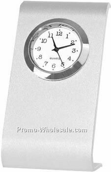 Contemporary Silver Metal Quartz Desk Clock
