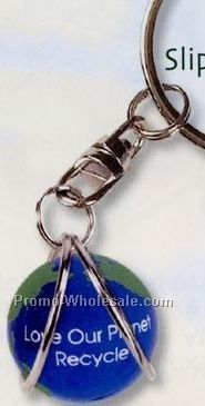 Earth Keychain W/ Slip-in Marble