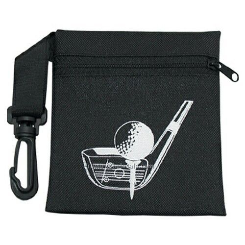 Empty Canvas Zippered Golf Pouch W/ Clip