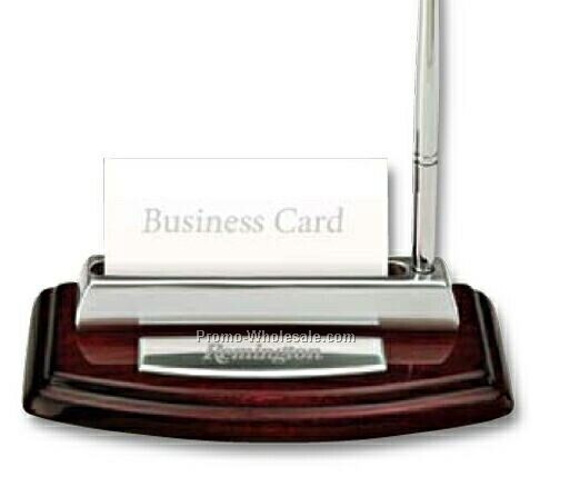"Essentials Quercia IV Business Card Holder/ Pen Stand 6""x3-1/4"""
