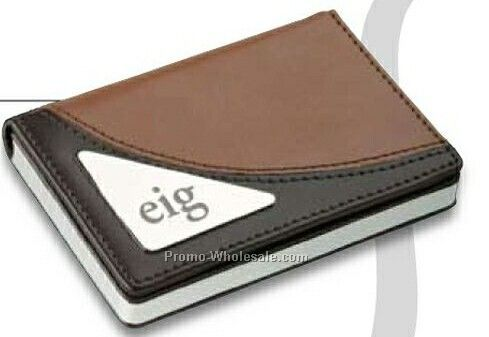 "Essentials Tomdois 2-tone Leather Business Card Case 4""x2-3/4"""