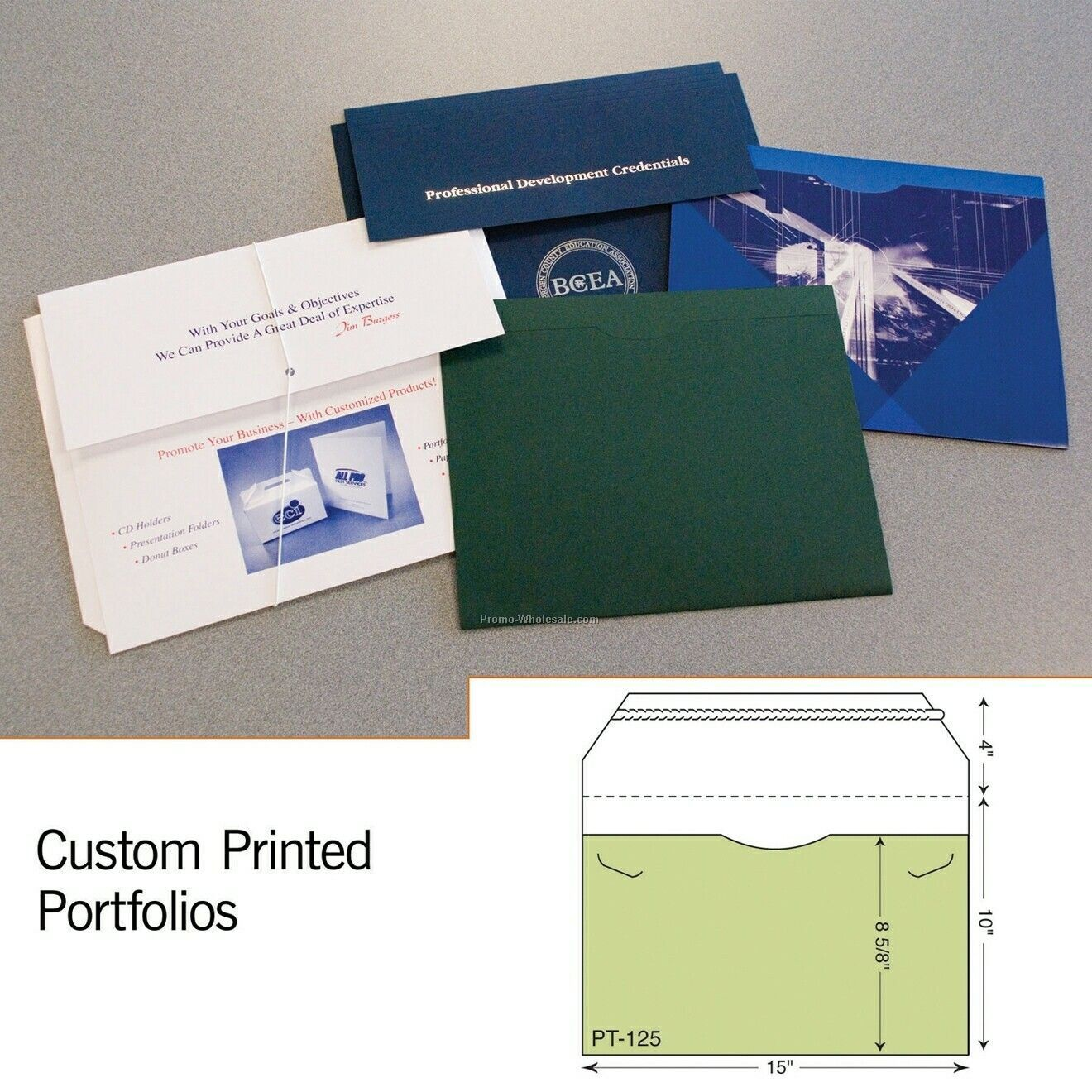 "Legal Size Flat Portfolio W/ Zip Open Flap - 4 Color Process (10""x15"")"