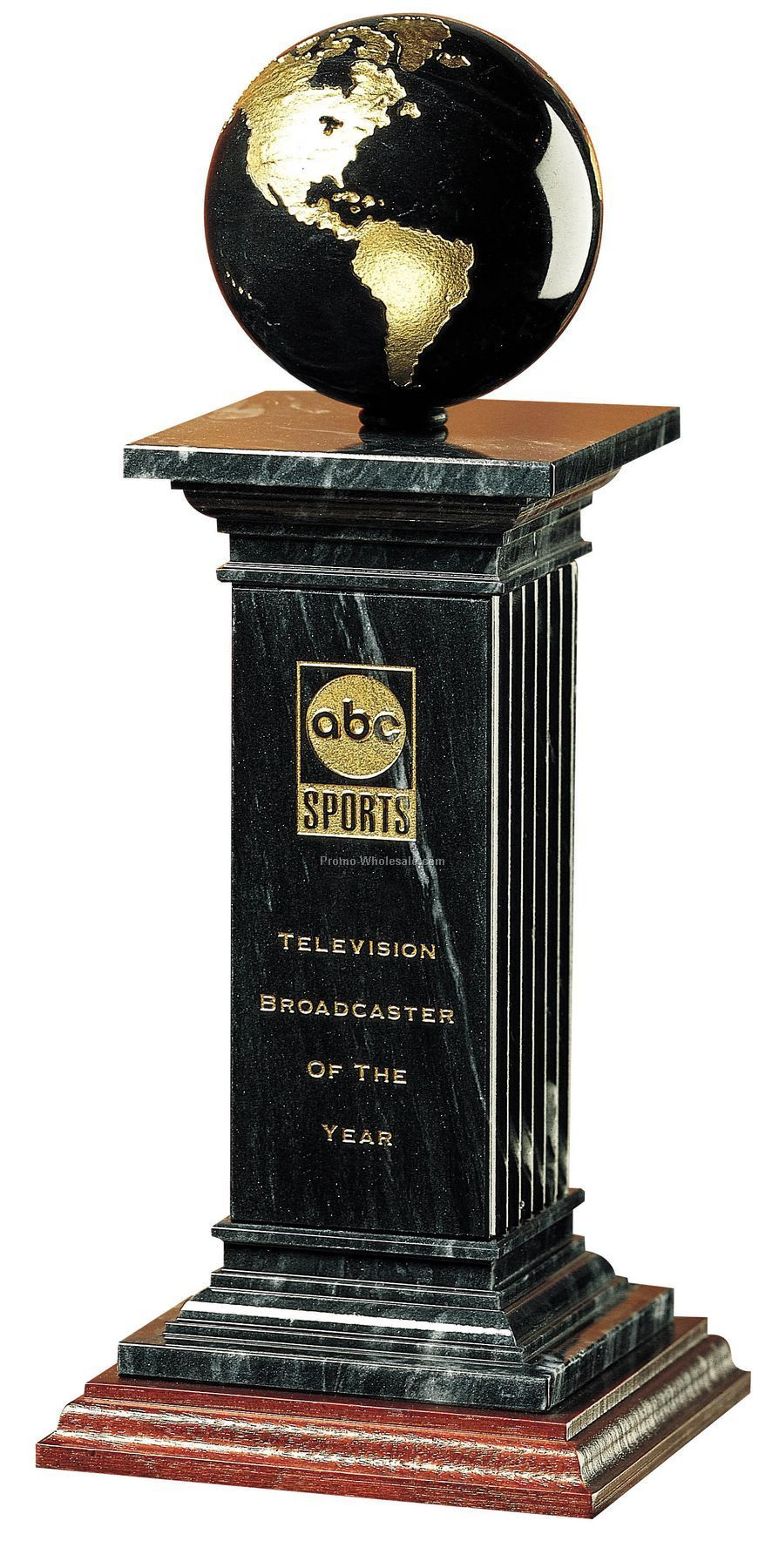 Medium Black Marble Renaissance Pillar & Globe Award