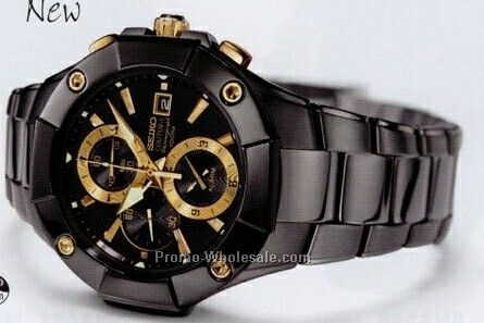 Men`s Seiko Coutura Alarm Chronograph Watch/Black/Gold Trim