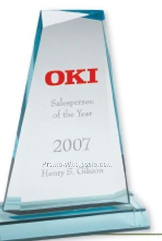 Multi Faceted Jade Green Acrylic Tapered Award (Laser Engraved)