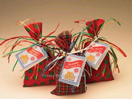 Old World Hot Cider Mix With Fabric Bag/Colorful Raffia/Sleigh Bell