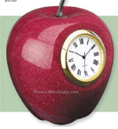 Red Marble Apple Paperweight With Clock
