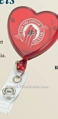 Retractable Badge Reel - Heart Shaped (3 Day Ship)