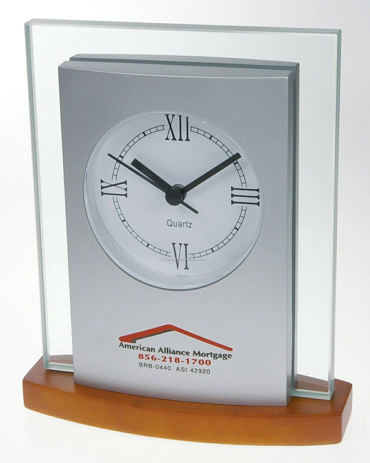 Satin Silver Executive Clock W/ Rosewood Base