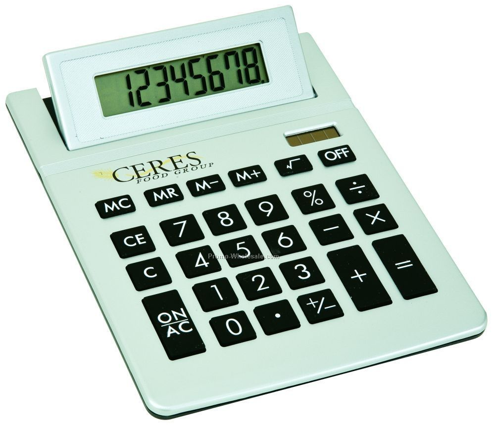 Silver Big Display Desktop Calculator W/ Ratcheting Tilt Display