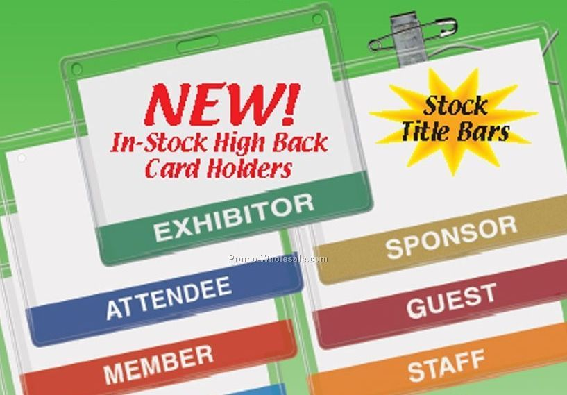 Stock Top Loading Id Card Holders With Hi-back Slot