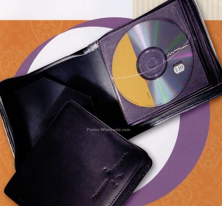 Synthetic Leather 10 CD/ DVD Zip Around Carrier Case