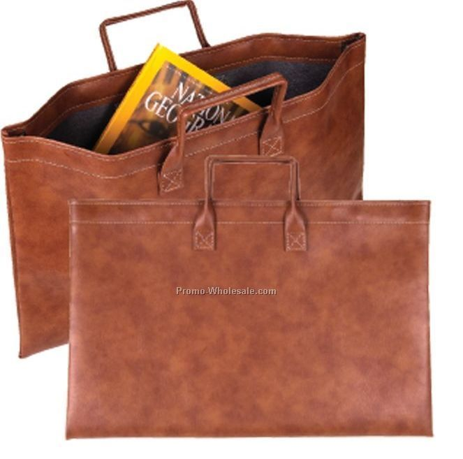 Tan Spring-open Document Holder W/ Handle