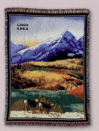 "Tapestry Stock Woven Throws - Mountain Scene (53""x67"")"