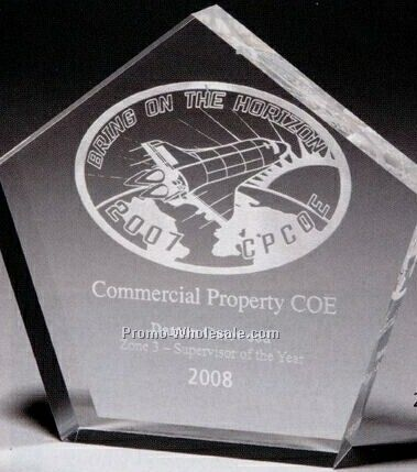 "1"" Thick Clear Acrylic Pentagon Award (Laser Engraved)"