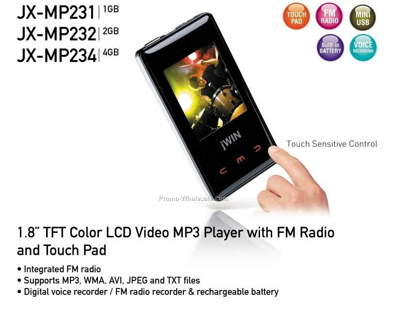 "1.8"" Touchpad Color Lcd Video Mp3 Player With FM Radio - 1gb"