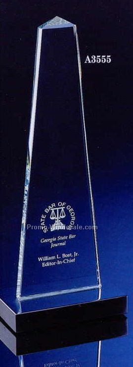 "12"" Obelisk Crystal Award W/ Marble Base"