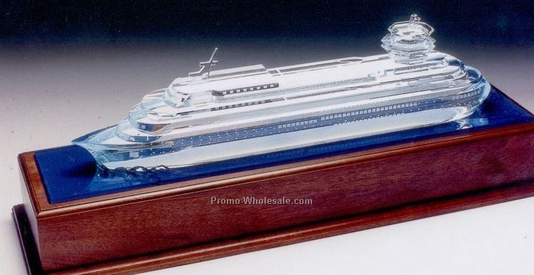 "12-1/2""x36""x10-1/2"" Glass Cruise Ship Replica"