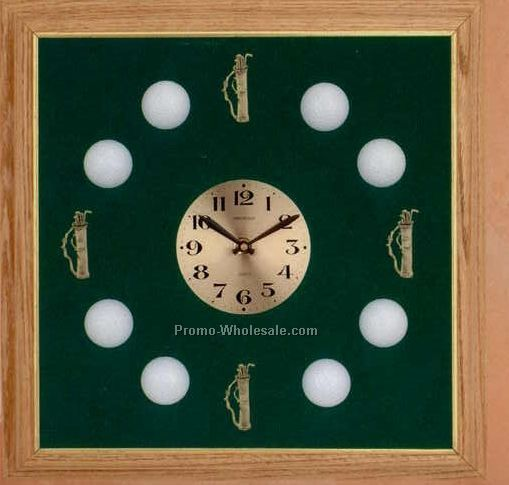 "17""x17"" Solid Oak Framed Big Sport Series Clock - Golf"