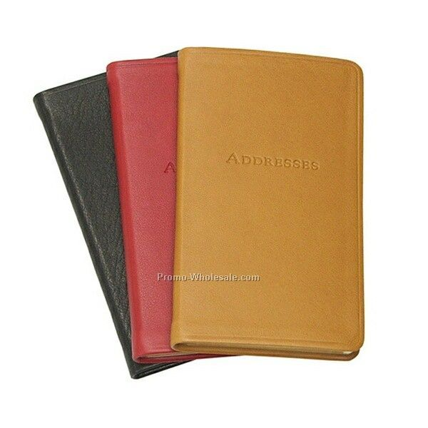 "3""x5"" Pocket Address Book W/ Premium Traditional Leather Cover"