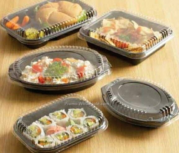 32 Oz Rectangle Combo Before Bake Fit Dome Containers W/ Clear Cover
