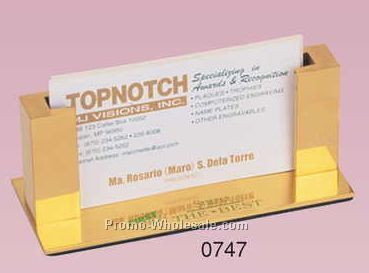 "4-3/8""x1-3/4""x1-3/4"" Gold Plated Desk Business Card Holder (Engraved)"