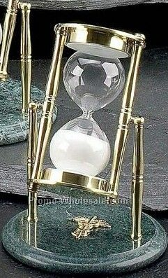 "7"" Medical Brass & Green Marble 30 Minutes Sand Timer"