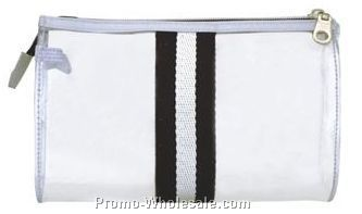 "7-1/2""x2""x4-1/2"" Transparent Stripped Stylish Cosmetic Pouch"