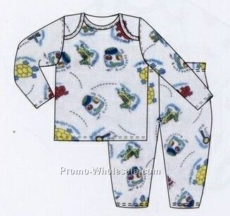 Boys Prints 2 Piece Long Sleeve Pj Set/ Pajama Set (Newborn-large)