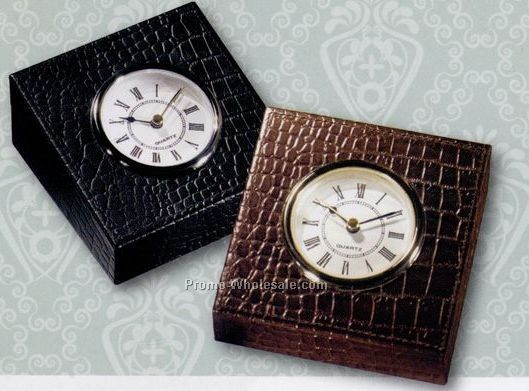 Croco Cowhide Leather Table Clock