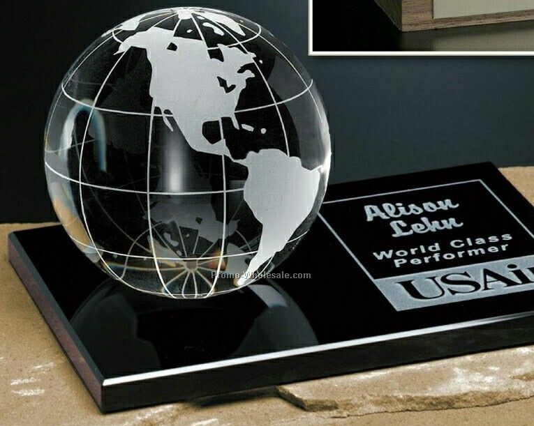 Crystal Galaxy Globe Award On Glass Base 3-1/8""