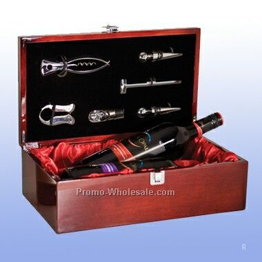 Dual Wine Bottle Presentation Box With Tools (Engraved)