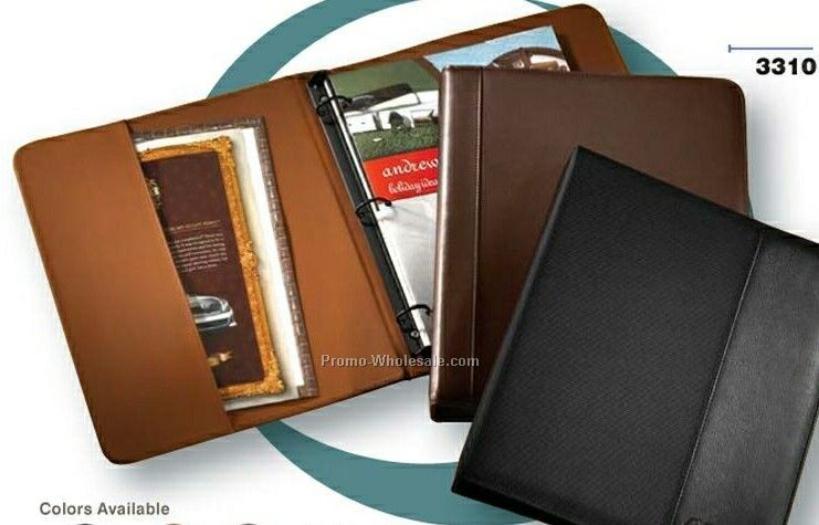 Florentine Napa Leather Slim Line Passport/ Document Three-ring Binder