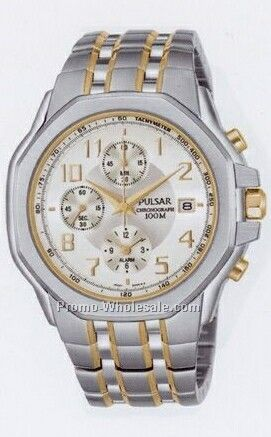 Men's Collection Pulsar Alarm Chronograph Watch (Silver/ Gold Trim)